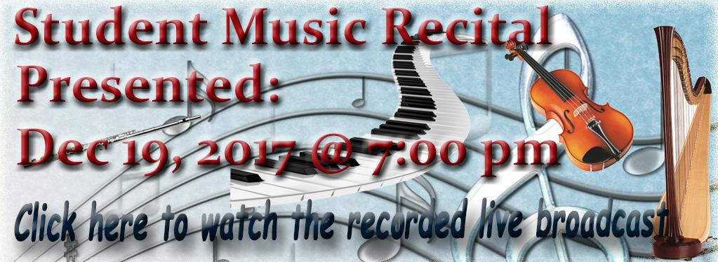Grace Baptist Church, Eaton Rapids, MI, 2017, Student Recital, Harp, Piano, Violin, Cello