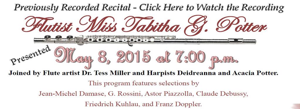 Grace Baptist Church, Eaton Rapids, MI, Tabitha Potter Recital 2015
